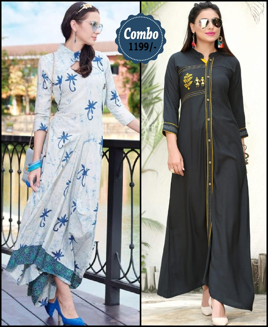 RE - Attractive multi and black color rayon print stitched kurti - Pack of 2