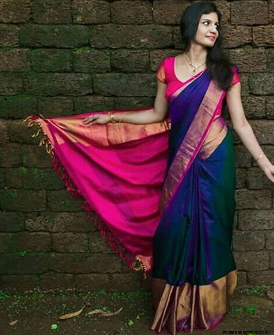 RE - Lovely blue colored Printed Soft silk saree