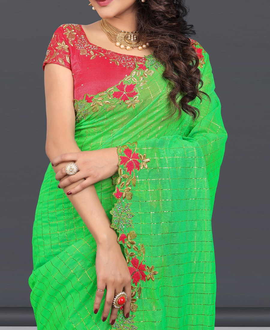 SP - Exquisite Green Naznin Diamond Embroidered Saree