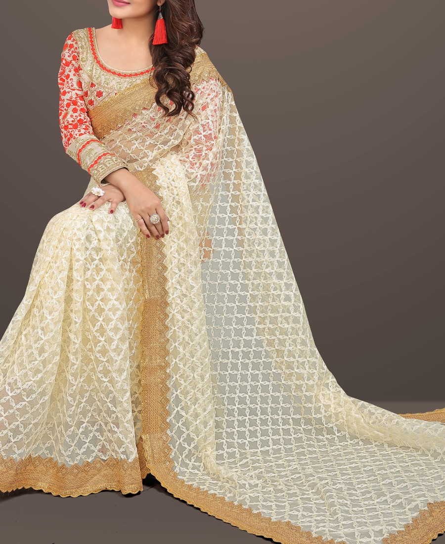 RE - Bollywood style beige nylon net multi thread work saree