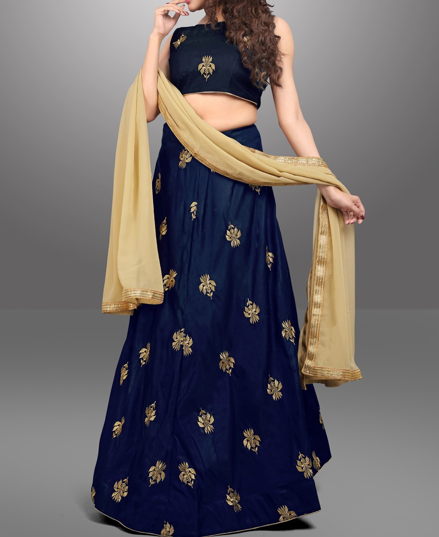 RE - Embroidered Dark blue taffeta silk lehenga choli