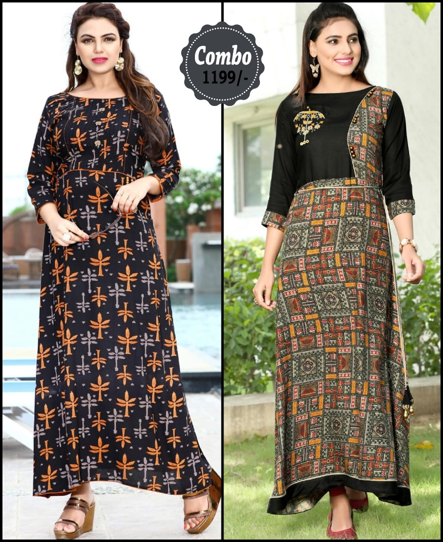 RE - Attractive multi color rayon print stitched kurti - Pack of 2