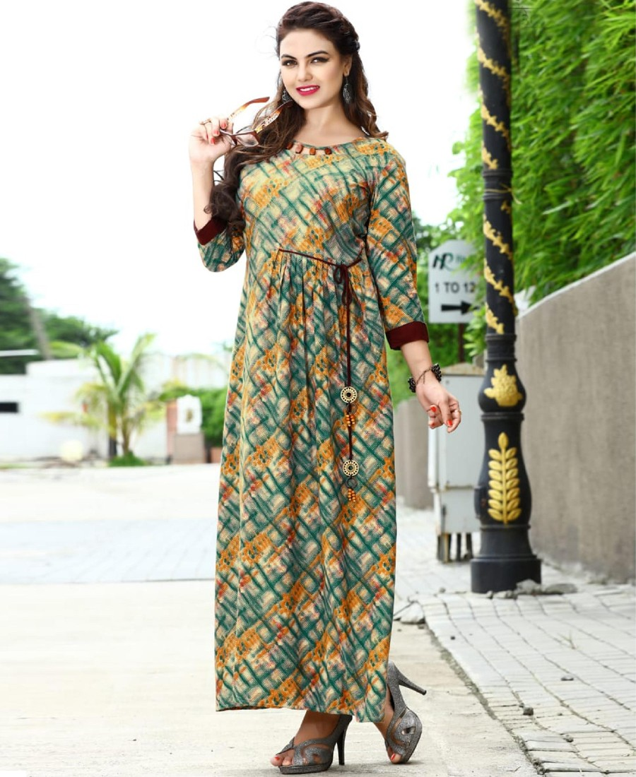 RE - Pleasing Multi color rayon print stitched kurti