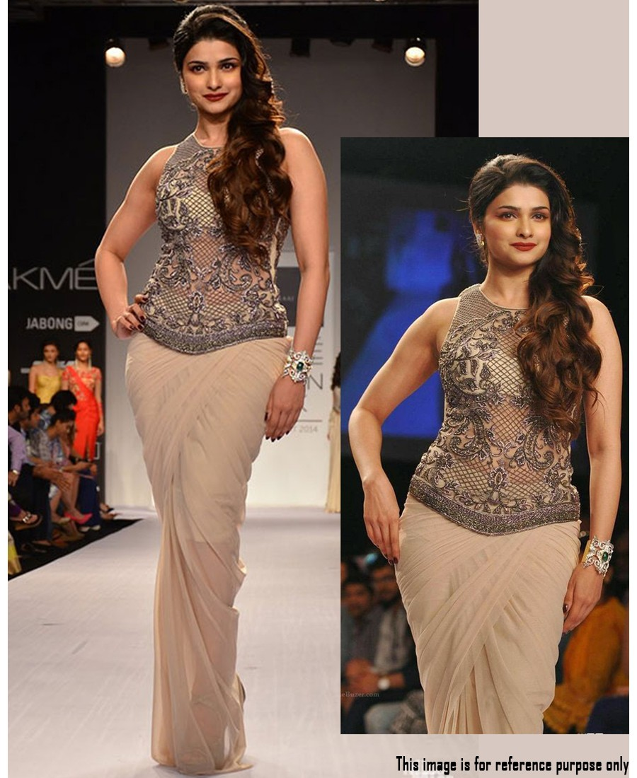 RE - Prachi Desai Off white 60GM Georgette fancy thread work saree