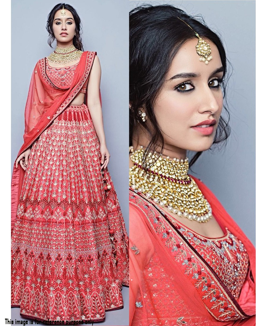 f1fed198a6 RE - Shraddha Kapoor Pink Taffeta silk Embroidered Lehenga Choli