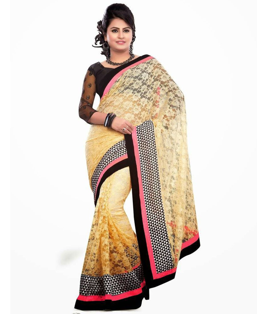 KF - Appealing Cream Brasso Net Party Wear Saree