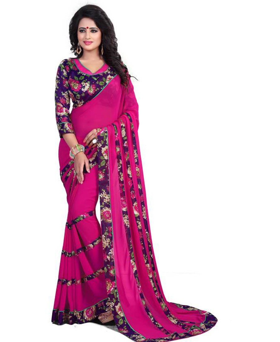 KF - Pink georgette lace border printed saree