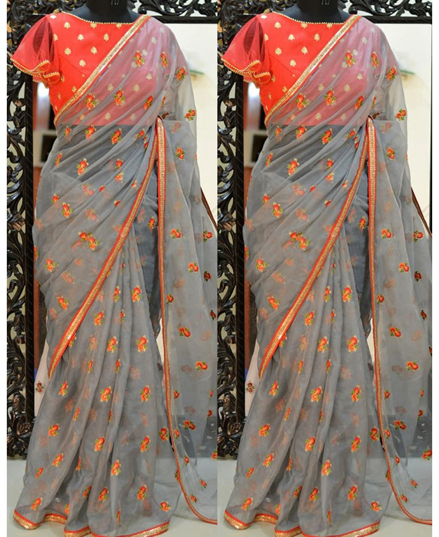 RE - Designer Grey Silver Chiffon Thread work saree