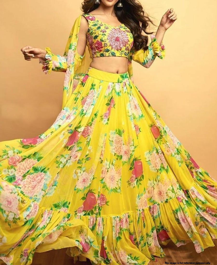 RE - Floral printed yellow faux georgette lehenga