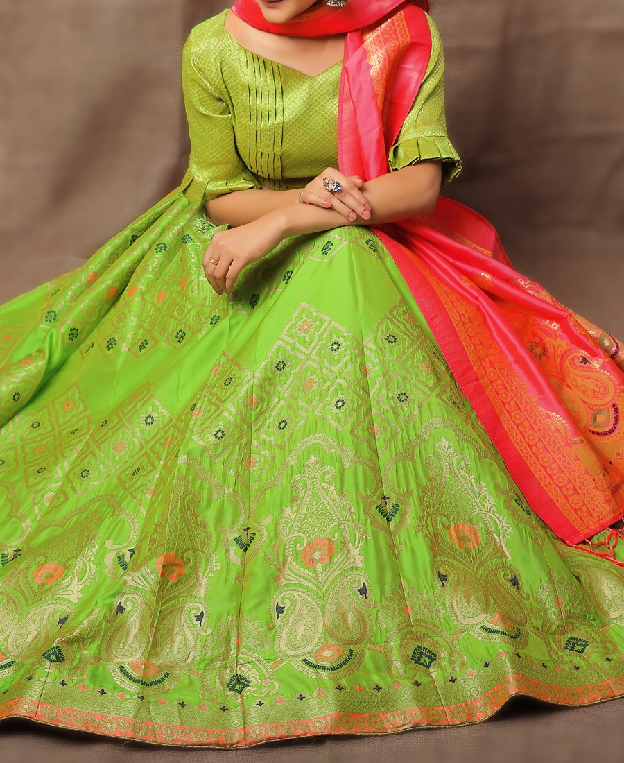 RE - Evergreen Jacquard Silk Parrot Green Lehenga Choli