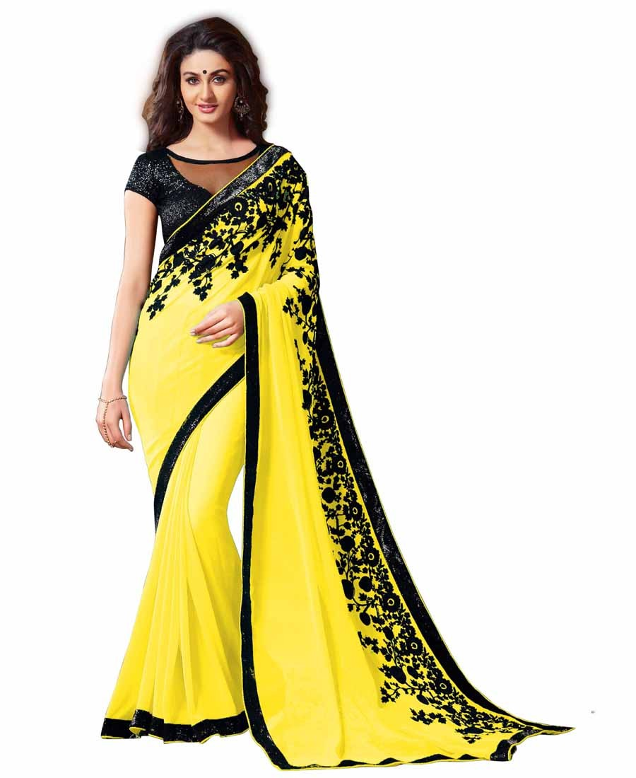 GS - Awesome Yellow Embroidery Georgette saree with blouse