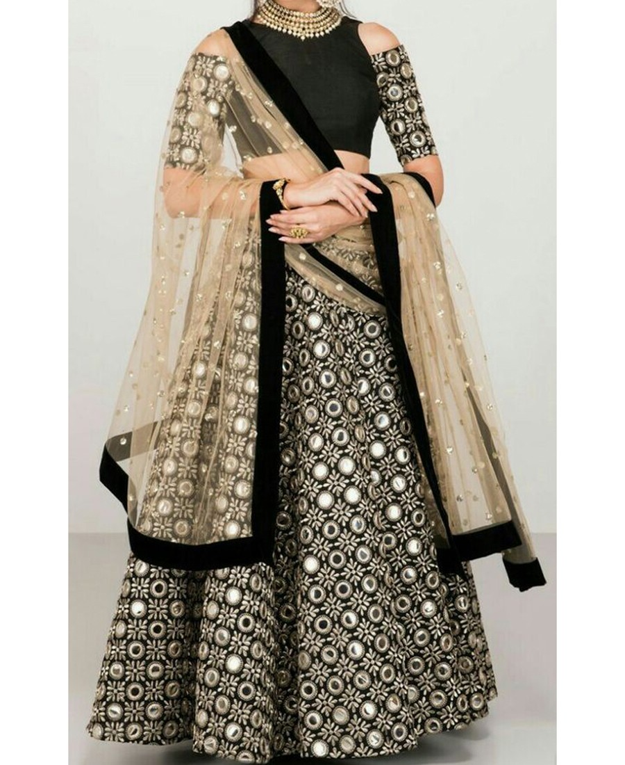 RE - Exclusive black banglori silk foil mirror work lehenga