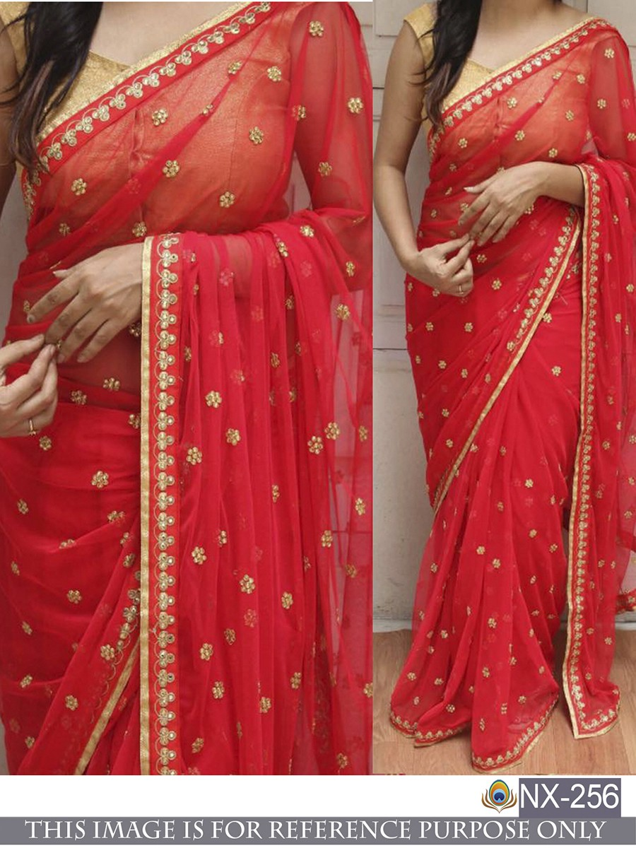 RE - Stylish Red Georgette Dori work and Thread work Saree