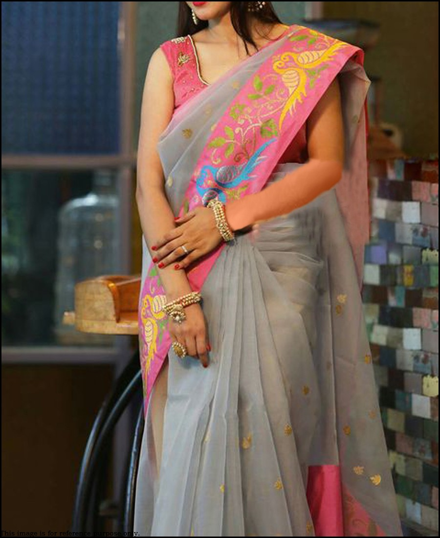PF - Modern grey organza silk embroidered saree