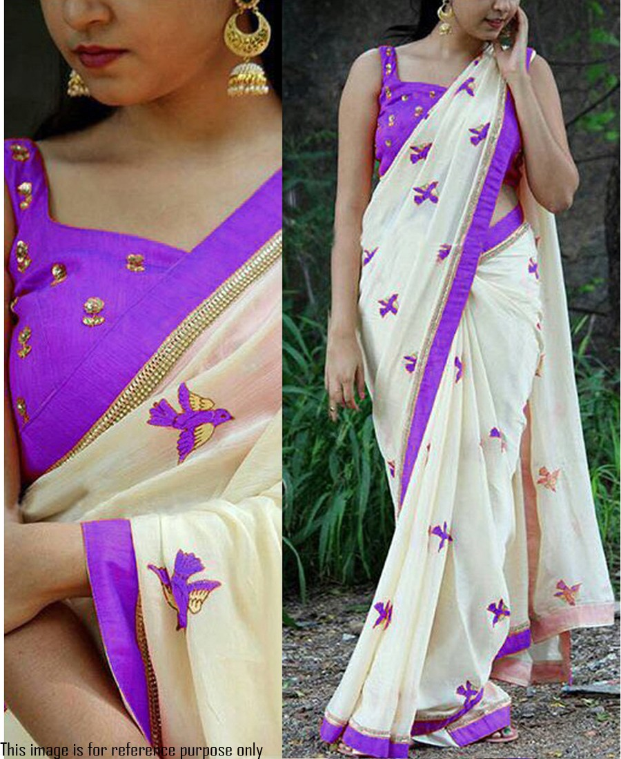 RE - Captivating purple georgette embroidery saree