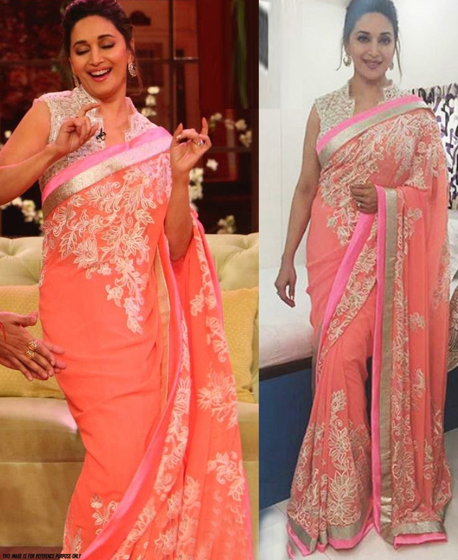 8d32b1a64fe9f7 RE - Madhuri Dixit Peach Georgette Designer Saree - Celebrity Collection -  Indian