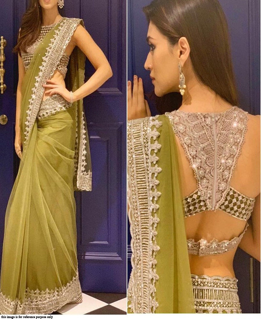 RE - Bollywood style olive green butterfly mono net sequence work saree