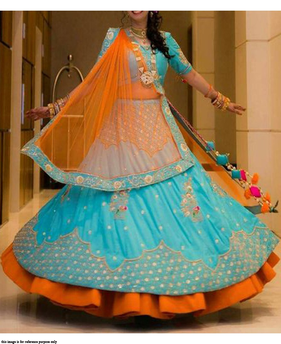 RE - Traditional sky blue Italian satin silk lehenga