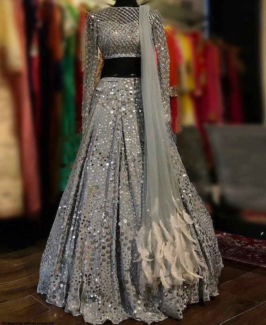 RE - Classic grey Georgette sequence work lehenga choli