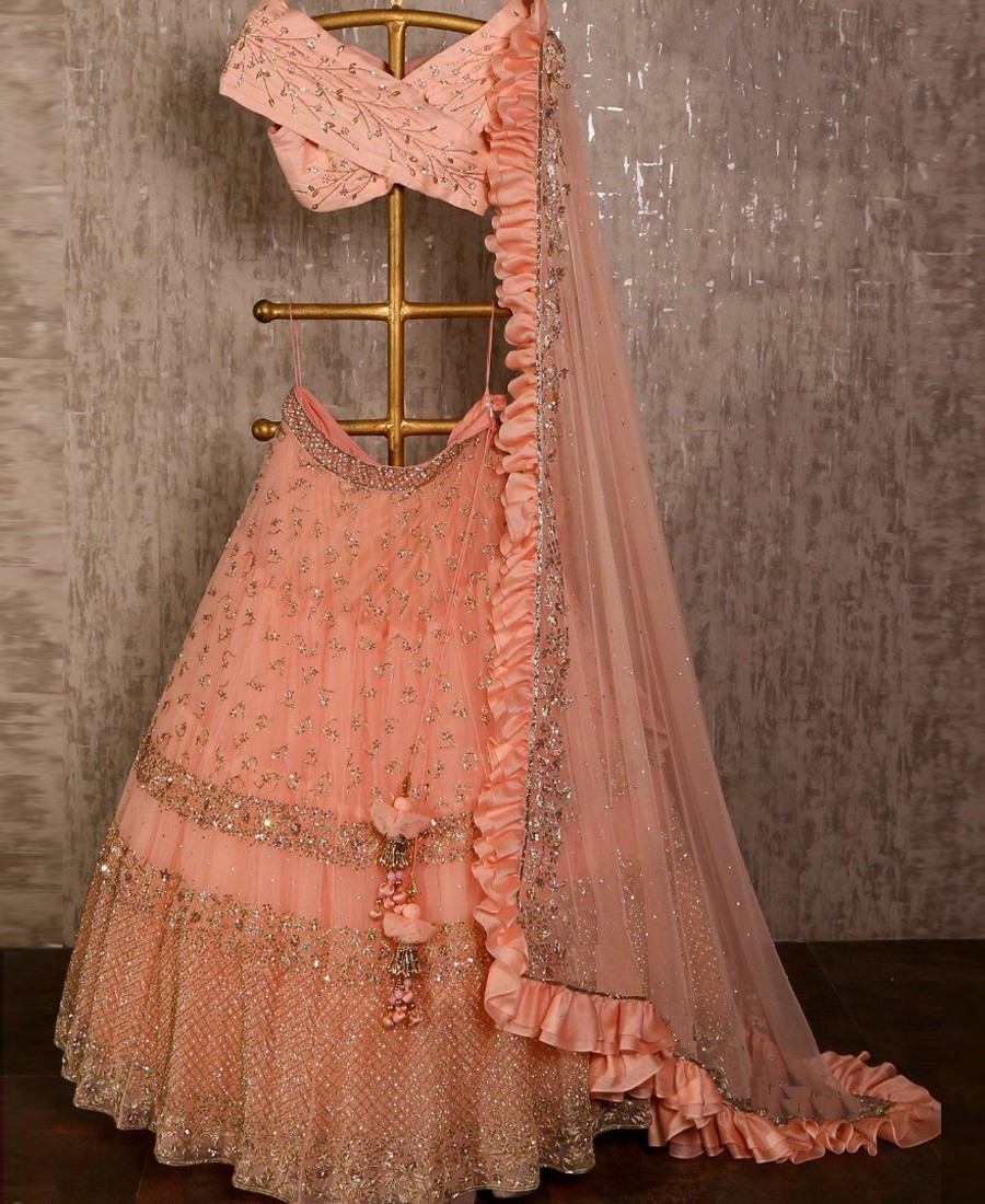 RE - Classy peach net sequence embroidered ruffle lehenga