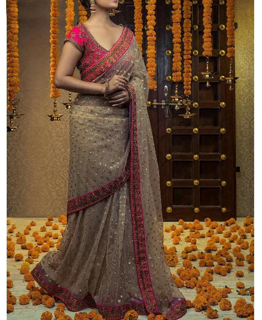 RE - Vani Beige Net Diamond Thread Work Saree