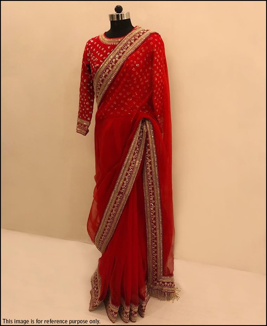 VF - Elegant Red Faux georette Sequence border saree