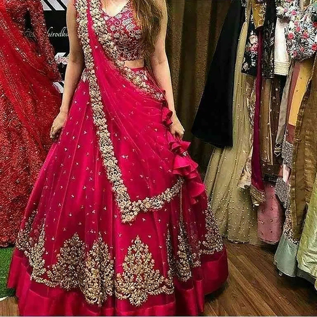 RE - Cherry Red Faux blooming Lehenga Choli