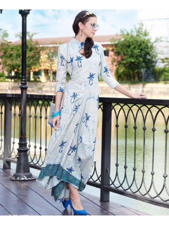 RE - Glamorous White cotton printed stitched kurti