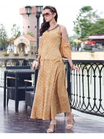 RE - entrancing yellow cotton printed stitched kurti