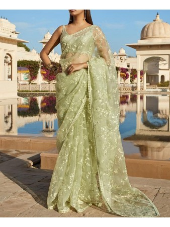 RE - Classy olive green net embroidered saree