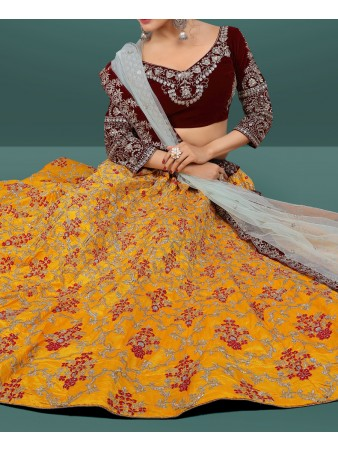 RE - Exclusive multi color banglori satin silk sequence work lehenga
