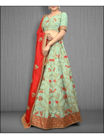 VF - Embellished Olive green two tone vichitra silk Lehenga