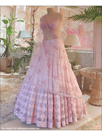 RE - Lovely Baby Pink Cotton Silk Mirror Work Lehenga