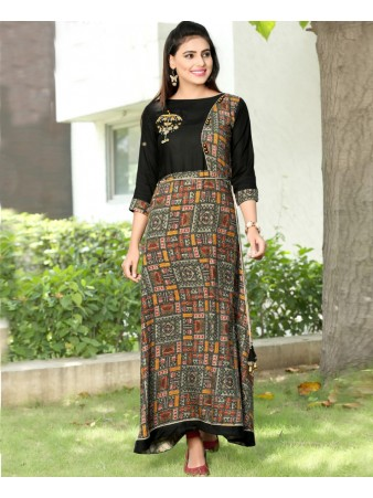 RE - Graceful Black rayon print stitched kurti
