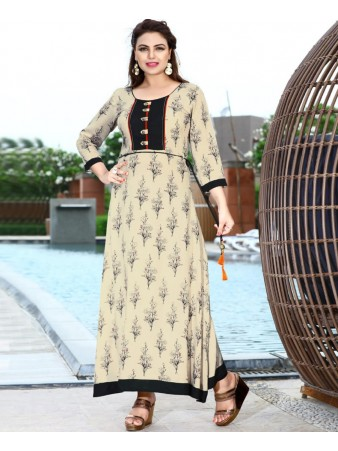 RE - Delightful Off white rayon print stitched kurti