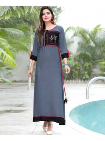 RE - Smashing Grey slub rayon embellish stitch kurti
