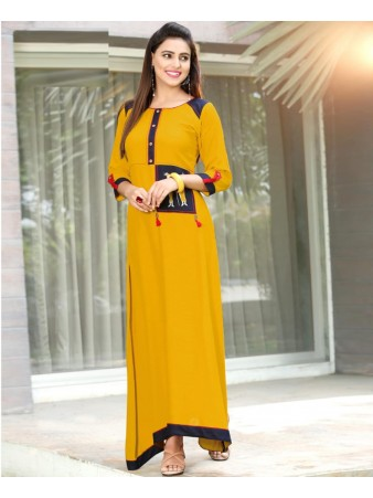 RE - Engaging Yellow slub rayon embellish stitch kurti