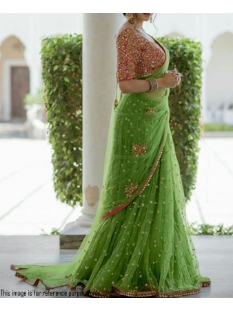 RE - Opulent green net embroidered saree