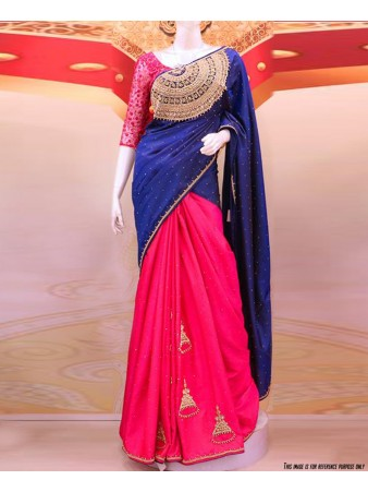 RE - Vestigial blue and pink paper silk embroidered saree