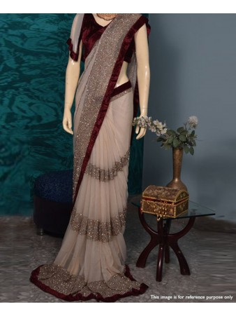 RE - Partywear velvet lace border Georgette fabric saree with sequence work