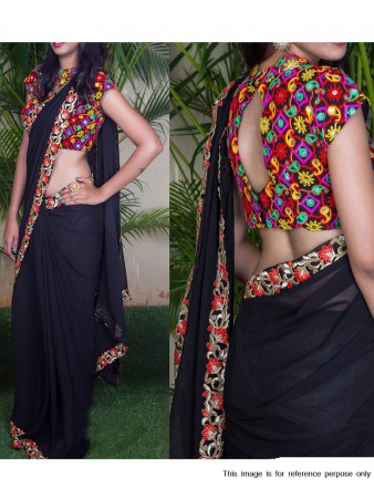 RE - Glamour Black Color Georgette Saree with Fancy Un-stitched Blouse