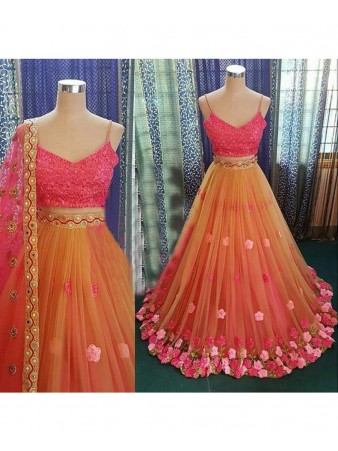 RE - Floral embroidered net multi color lehenga