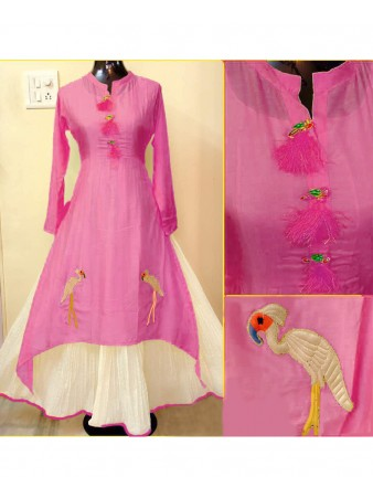 RE - Beautiful Pink Chanderi Cotton Designer Kurti