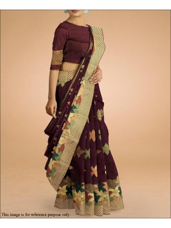 RE - Maroon Colored Lichi Silk Jaquard Saree