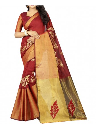 BF - Maroon Embroidery Poly cotton saree with blouse