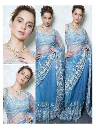 RE - Kangana Ranaut net sky blue thread work saree