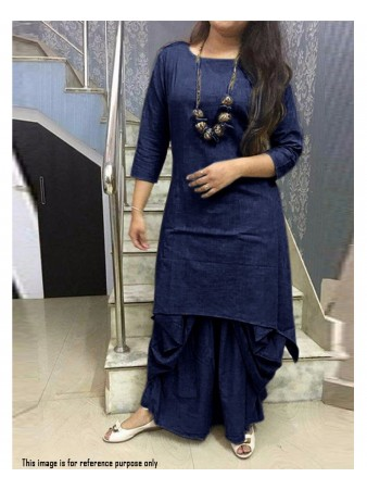RE - Exquisite navy blue cotton UN-stitch kurti