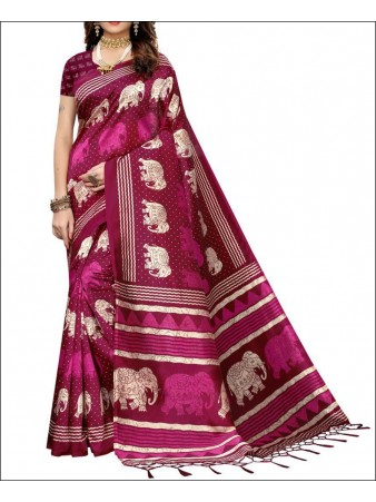 RE - Elephant print mysure silk pink tassel work saree