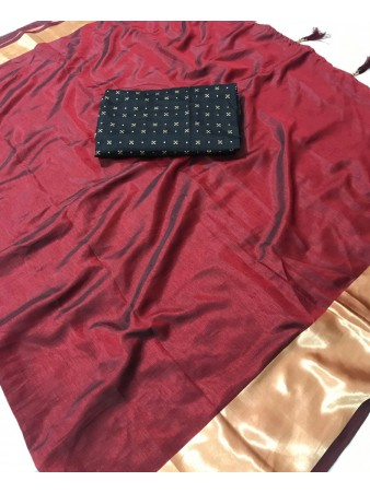 FC - Pleasing Maroon Sana silk Golden Zari border work Saree