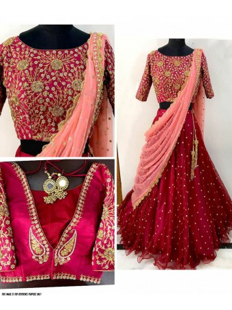 RE - Traditional red net embroidered hand work lehenga